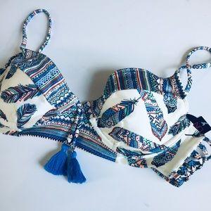 Cream & blue southwestern bikini top M NWT